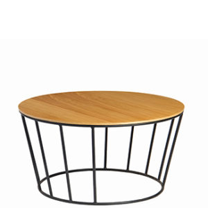 basket coffee table - powdercoat steel frame side table with ply timber top