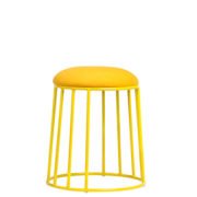 basket low stool - powdercoat steel frame pouff with upholstered padded seat