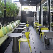 Angel L Chairs - Anthracite grey and green polypropylene outdoor cafe chair