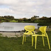 Angel Chairs - Yellow polypropylene mesh outdoor cafe chair