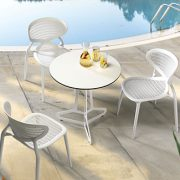 Angel Chairs - White polypropylene mesh outdoor cafe chair