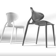 Angel Chairs - Anthracite grey and white polypropylene outdoor cafe chair