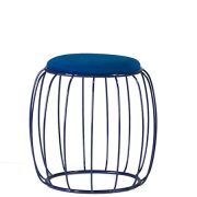 abbey ottoman blue wire metal frame pouff with padded upholstered seat