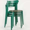 green stacking icho chairs with upholstered seat