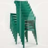 green stacking icho chairs