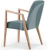 natural light timber armchair with blue upholstery